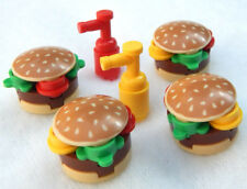 4 NEW LEGO BURGERS ketchup mustard minifig hamburger lot food minifigure figure