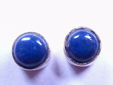 Small Lapis 925 Sterling Silver Stud Earrings Round Corona Sun Jewelry
