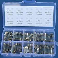 100pcs Action Glass Fuses Quick Blow Glass Tube Electrical Fuse Assorted Kit