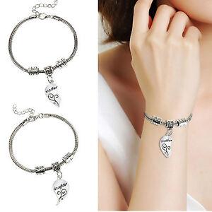 2pcs Mother Daughter Love Broken Heart Bangle Silver Chain Bracelet Jewelry Gift