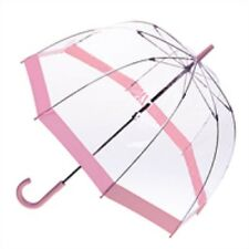 Clifton Queen Royal Dome Birdcage Clear Umbrella Pink Trim Wedding Or Rain