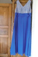 """robe longue de soirée """"JJ'sHOUSE"""" bleu à paillettes taille 50-52 JAMAIS PORTEE"""