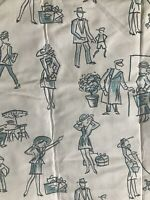 Vintage Silhouette Fabric Novelty Retro 1940's Style Throwback Remnant E1