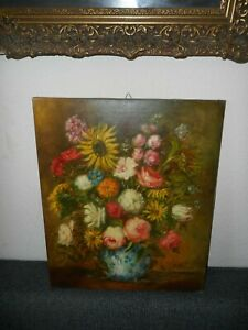 Large old oil painting,{ Beautiful still life with flowers, is signed }.