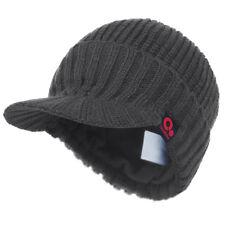 Winter Solid Wool Visor Beanie Knit Billed Hat Fur lining Knit Ski Brimmed Cap