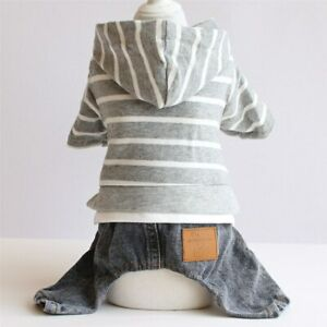 Striped Hooded Puppy Dog Spring Apparel Clothes Pet Cat Jacket Jumpsuit Outfit