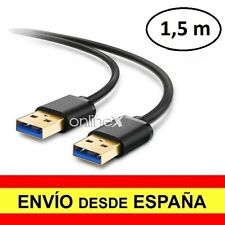 Cable Doble USB 3.0 Macho Azul Alta Velocidad 1.5 Metros Alargador a3010