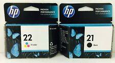 New Genuine HP 21 22 Black Color Ink Cartridges Bags Deskjet 3930 Deskjet 3930v