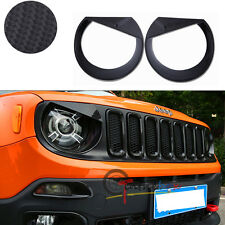 Carbon Fiber Style Headlamp Trim ABS Covers Bezels For 2015-2017 Jeep Renegade