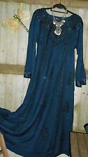 HipPY Gypsy Boho BLUE WICCA Pagan HOLY CLOTHING BLUE Embroidery Dress m L BNWT