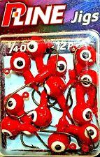 P-Line Red 1/4 oz Ball Head & White Eyes Fishing Jigs (12-pack)