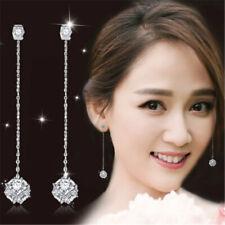 New Women Fashion Long Zircon Tassel Silver Dangle Drop Earrings Jewelry Gifts