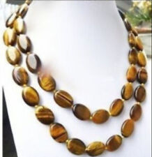 Long 36/54'' Natural 13x18MM Tiger's-eye Gems Oval Beads Necklace AAA