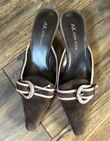 AK ANNE KLEIN Brown Leather Pointed Toe Mules Slip On Kitten Heels Suede 5.5