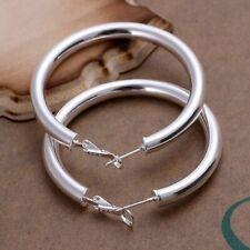 Silver Plated Large Bangle Earrings Boho Summer Festival Jewellery Gift Idea UK