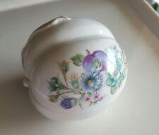 Elizabeth Arden Ceramic Peach Trinket Box Vanity White Fruit Floral