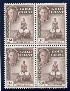 Gold Coast 1952 KGVI 2d deep brown block of four superb MNH. SG 138 var. CW 28a.