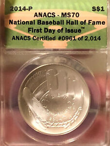 2014-P ANACS MS70 National Base all Hall of Fame first day issue Silver $1 # US