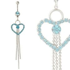 Extra Long Blue Jewel Encrusted Heart Navel Belly Ring - Fast Shipping!