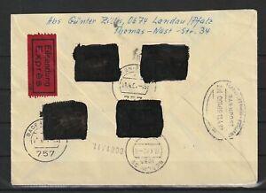 Bund BRD + Berlin Postkrieg geschwärzt Eil-Brief Landau - Berlin, 1967