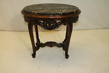 French Louis XV Style Walnut Portoro Marble Top Oval Carved Table