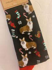 New Pembroke Welsh Corgi Dog Men's Christmas Dress Socks Black Shoe Size 8-12