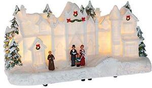 Light Up Resin Christmas Church Village Scene Home Decoration Festive Ornament