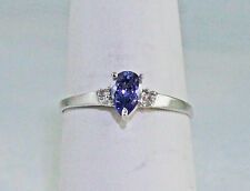 Violet Tanzanite 6X4 mm Pear w/ 4 Diamond Accents Ring 10K White Gold Size 7