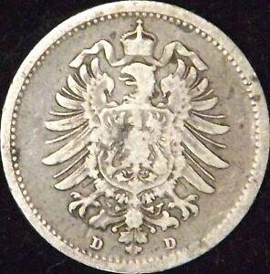 1876-D Germany Empire Silver 20 Pfennig - KM# 5 - VF