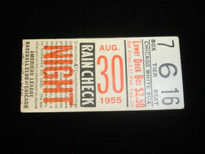August 30, 1955 Boston Red Sox @ Chicago White Sox Ticket Stub EX