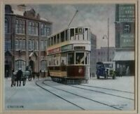 "F. PATTERSON ""CARDIFF TRAM, 1938"" ORIGINAL WATERCOLOUR. SIGNED/DATED. FRAMED."