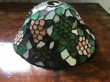 Vintage slag glass stained glass lamp shade with jewelled glass grapes