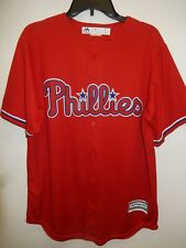 91030 Majestic PHILADELPHIA PHILLIES Offical Cool Base Baseball JERSEY RED $79