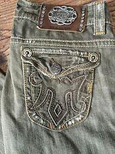 MEK Women's Brown Jeans Havana Flap Pockets Distressed Sz 29 X 32