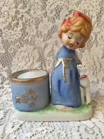 Vtg Jasco Porcelain Xmas Angel Candle Votive Holder Figurine Bisque Girl1978