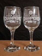 CHICAGO CUBS WORLD SERIES CHAMPIONS  , 2 ETCHED DRINKING WINE GLASSES (NEW)
