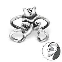 925 Sterling Silver Rose Design Ear Cuff
