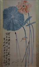 """Excellent Chinese Hanging Painting & Scroll """"Lotus"""" By Qi baishi 齐白石 SYZWEDBC68"""