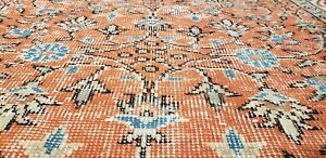"""Bohemian Antique 1950s Distressed Wool Pile Muted Dye Oushak Area Rug 6'3""""×9'10"""""""