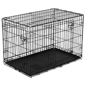 "Dog Crate Kennel 42"" Folding Pet Cage Metal Large Double Door Tray W/ Divider"