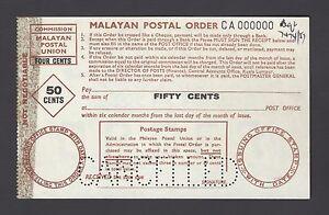 Malaysia - Malaya Postal Order 50 Cents Specimen Proof Rare