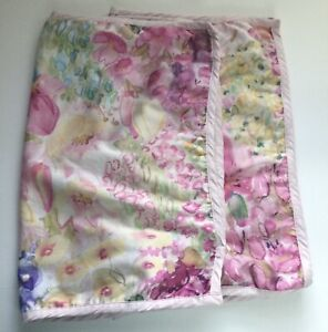"2 Pillow Shams Watercolors 26""x20"" Zipper Pinks Floral-Standard Size-Bedding EUC"