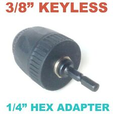 """1 pc Keyless 1/32-3/8"""" Cap Drill Chuck with Conversion 1/4"""" Hex  Adapter sct-888"""