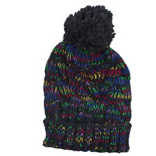 Winter Beanie Pom Pom Hat Lux Accessories Black Rainbow Confetti