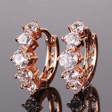 18K rose gold filled white topaz Stunning  luxury lady earring