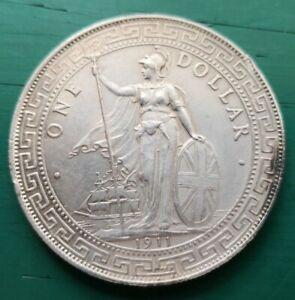 1911 Bombay mint Hong Kong China one trade dollar Silver #107