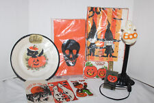 Lot of VINTAGE Halloween~PLATES~Pin~TREAT BAGS~Invites~TABLE CLOTH~Ghost Light