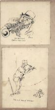 Victorian Pen & Ink Drawing of Musicians c1891
