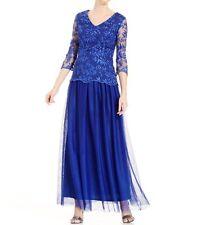 Alex Evenings Dress Sz 6 Royal Blue Lace Chiffon Illusion Formal Blouson Gown