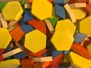 Math Manipulative Tangram Wood Pattern Blocks Geometric Shapes 150 Piece Lot Set